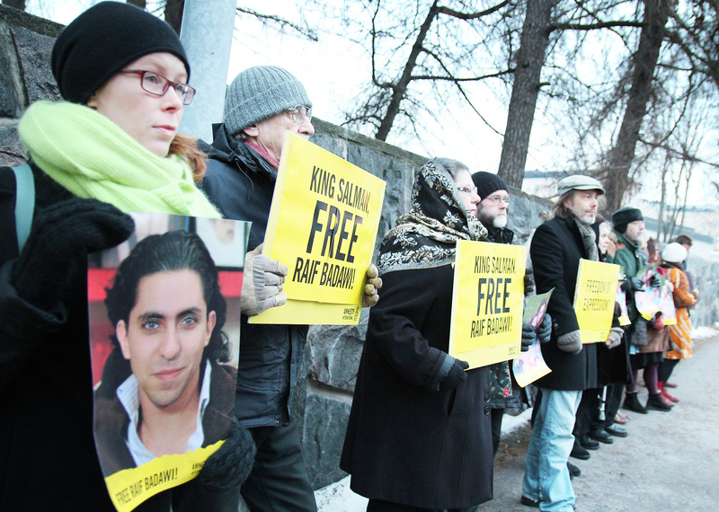 Demonstration for Saudi blogger Raif Badawi in Finland during Write for Rights 2014