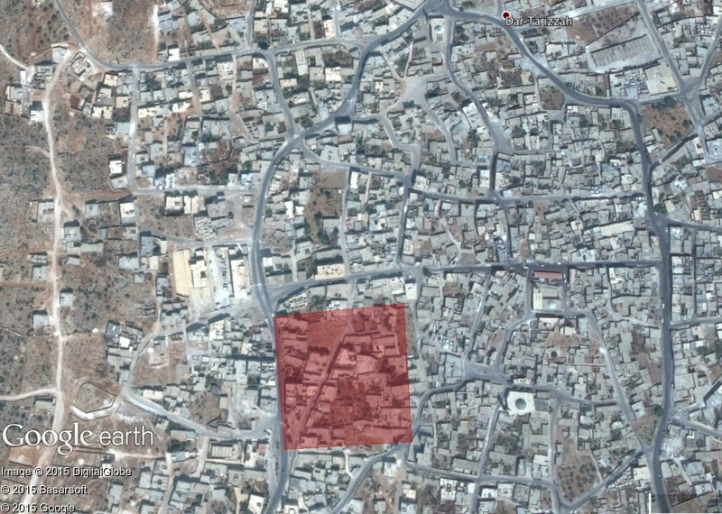 Approximate area of impact (in red) of suspected Russian cruise missile strike in Darat Izza on 7 October 2015 ©Google Earth / Digital Globe