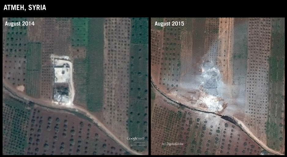Before and after images of attack on Atmeh in Idleb governorate, 11 August 2015 ©DigitalGlobe/Google Earth. Graphic produced by Amnesty International
