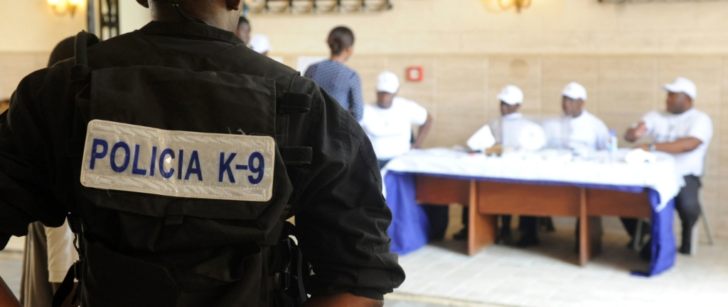 A policeman stand guard a polling station in Malabo on April 24, 2016 during polls. President Teodoro Obiang Nguema Mbasogo, was set to extend his 36-year-hold on power.