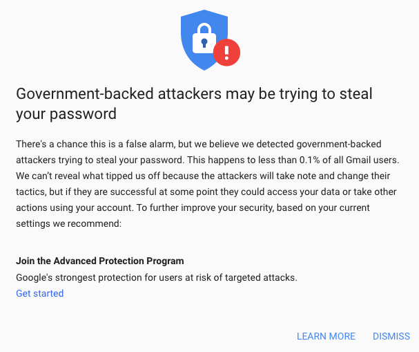 Google warning to one of the targets - 19 January 2019