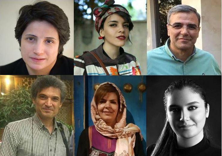 Top left to bottom right: Nasrin Sotoudeh, Yasaman Aryani, Reza Khandan, Farhad Meysami, Monireh Arabshahi, Mojgan Keshavaraz