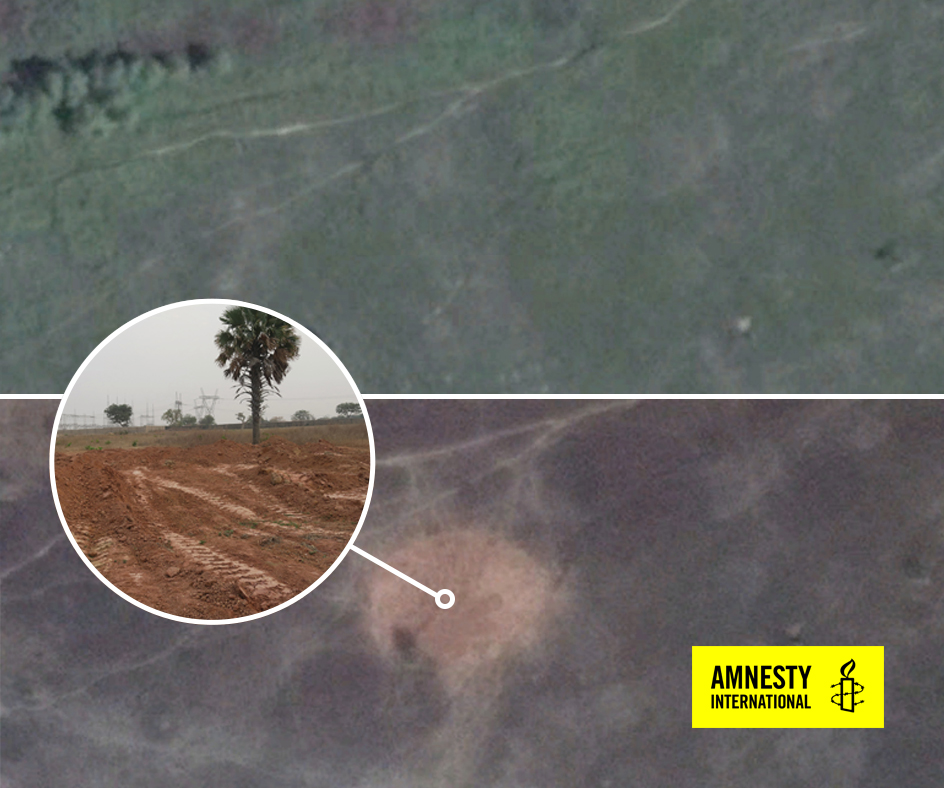 Satellite images from November and December show site of possible mass grave.