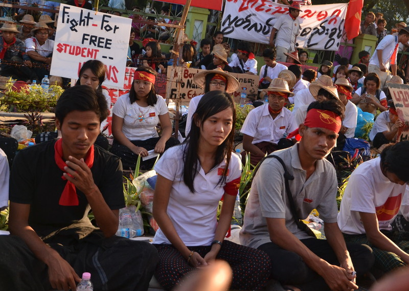 Phyoe Phyoe Aung (centre) during a protest against the National Education Law in November 2014. Credit: Private.