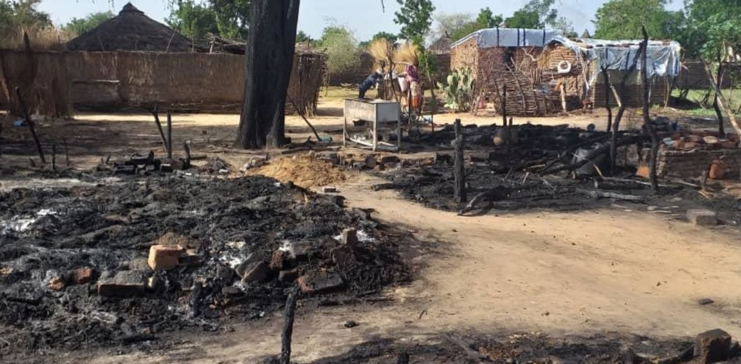 Image from the aftermath of a militia attack on civilians in Masteri, in West Darfur, on 25 July 2020.