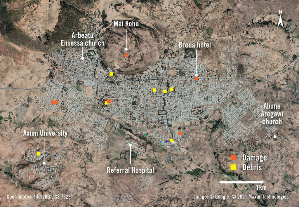Overview image of damage & debris around the city of Axum, in Ethiopia's Tigray region, following an offensive by Ethiopian and Eritrean forces in November 2020. Image: Google © 2021 Maxar Technologies