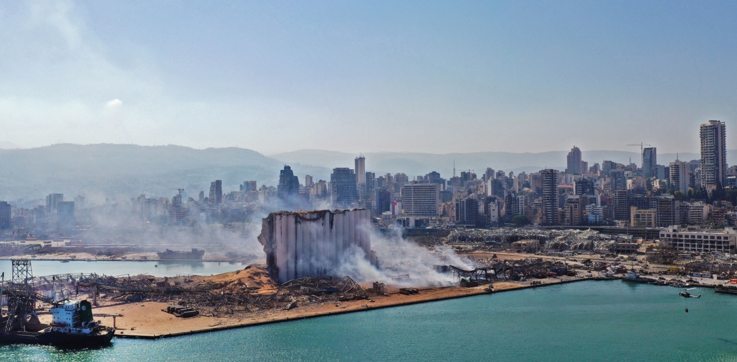 an image of beirut skyline after the explosion in August 2020