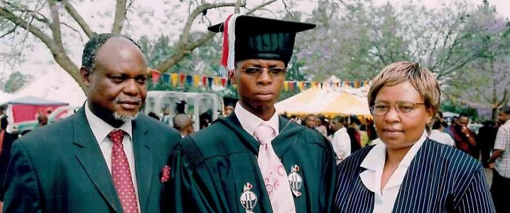 Mzwandile (centre) and his parents at his graduation in 2007.