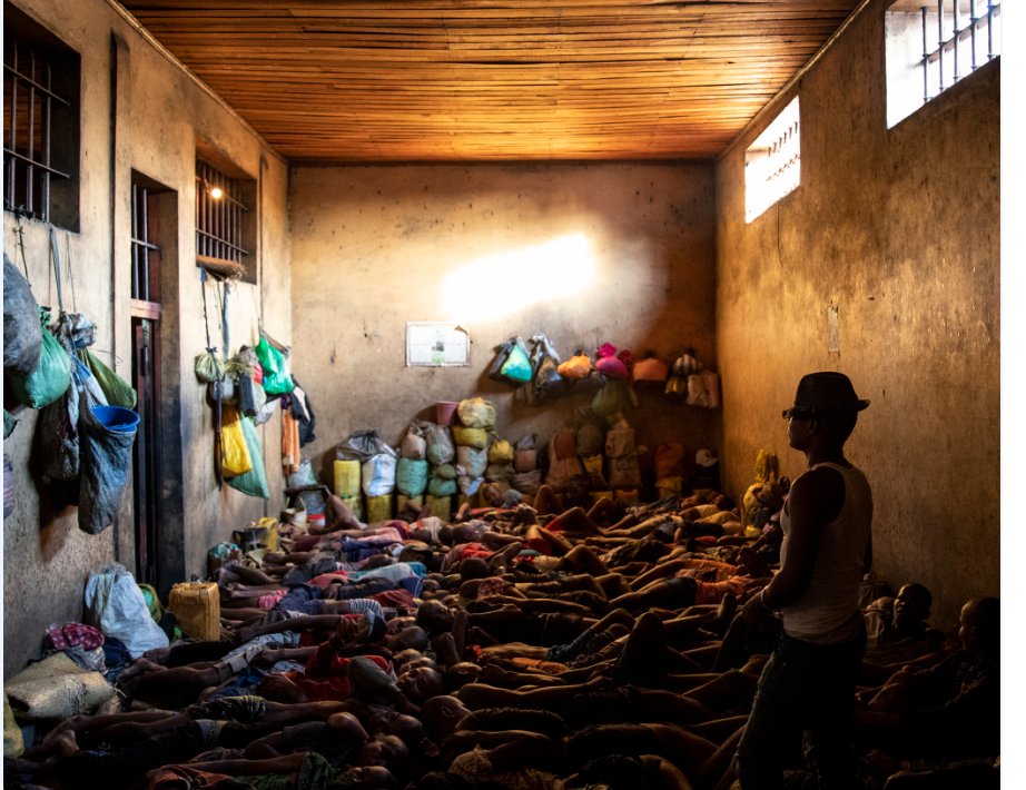 Prisoners sleeping in an overcrowded prison cell in Madagascar