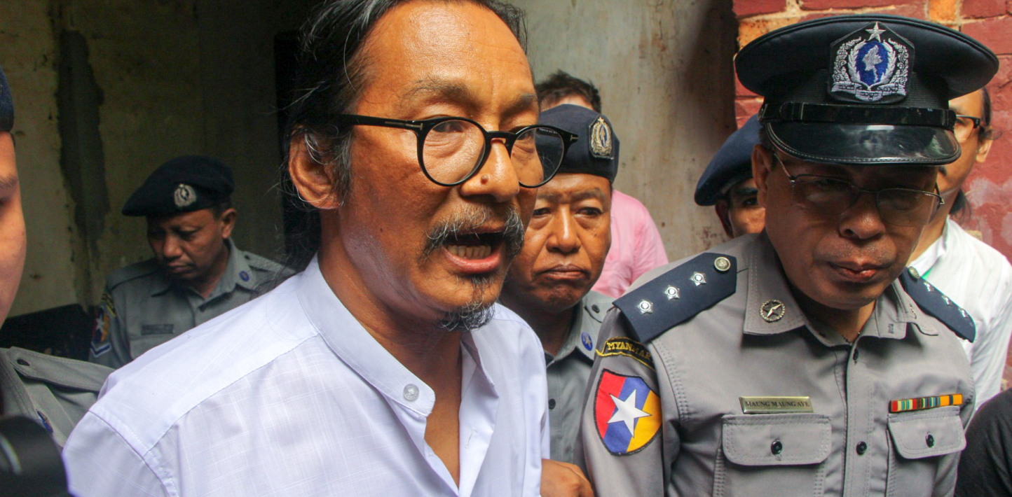 Min Htin Ko Ko Gyi addresses reporters while leaving Insein Township Court on 23 May 2019.