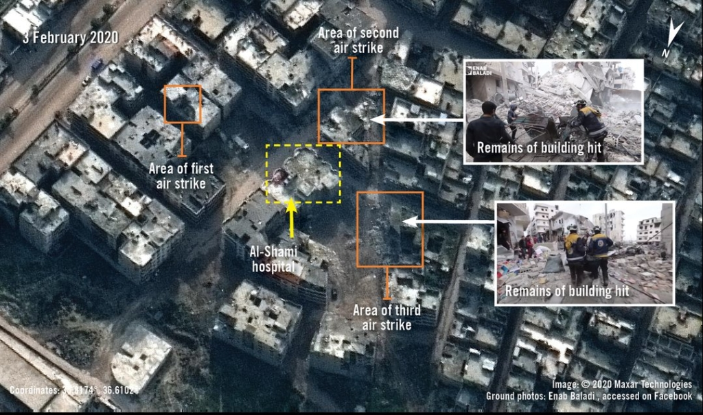 Satellite imagery taken on 3 February 2020 showing al-Shami hospital and its environs after the three air strikes that took place on 29 January 2020. Damage to adjacent buildings is visible in the orange squares. ©Maxar Technologies The inset photographs, taken on 30 January 2020, show civil defence volunteers inspecting the remains of the building hit in the second and third air strike. ©Enab Baladi