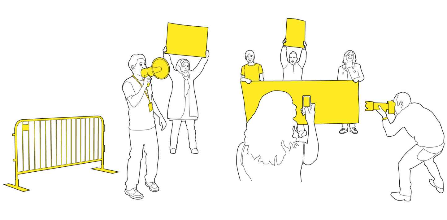 An illustration showing a campaigning event with banners, loudhailer, photography and more.