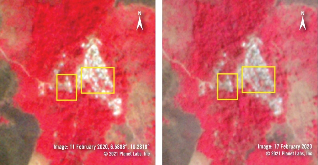 Imagery from February 2020 shows an overview of Koshin village using the near infrared band which highlights healthy vegetation in red tones and recently burned areas in brown, black tones. Areas in the centre of the village appear darker on 17 February, suggesting the structures were damaged or destroyed by fire. @2021 Planet Lab Inc