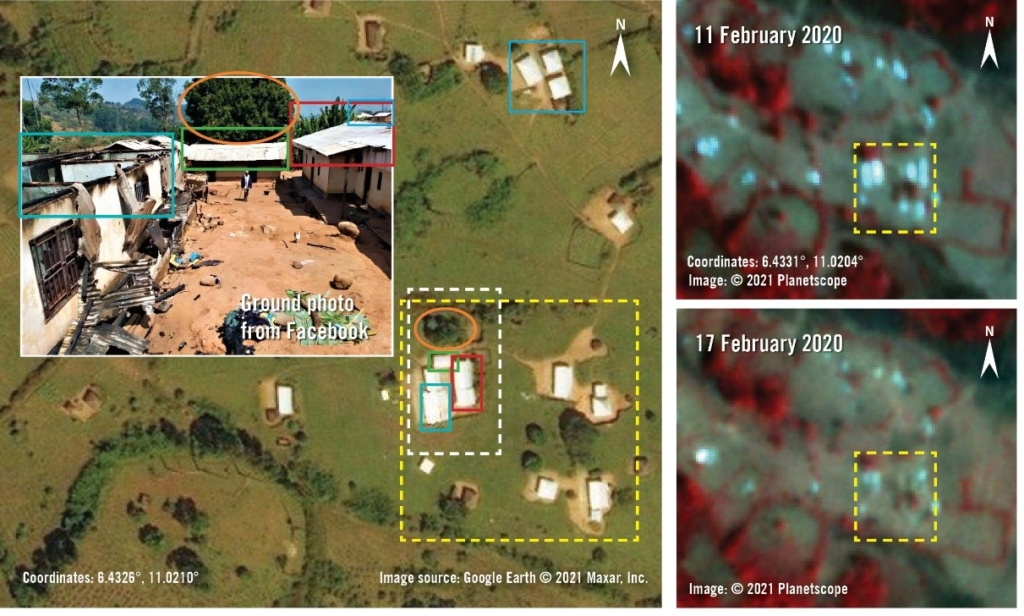 A photo of the damage in Mbui in Mbem town, Nwa subdivision was geolocated using high resolution satellite imagery from 2019. Satellite imagery from 17 February 2020 shows changes in the structures at the same location. @2021 Planet Lab Inc