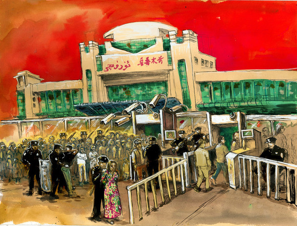 A security checkpoint outside of a train station in Urumqi, Xinjiang. Han Chinese people and members of predominantly Muslim ethnic groups go through separate checkpoints. Muslims are subjected to much more severe security checks. © Molly Crabapple