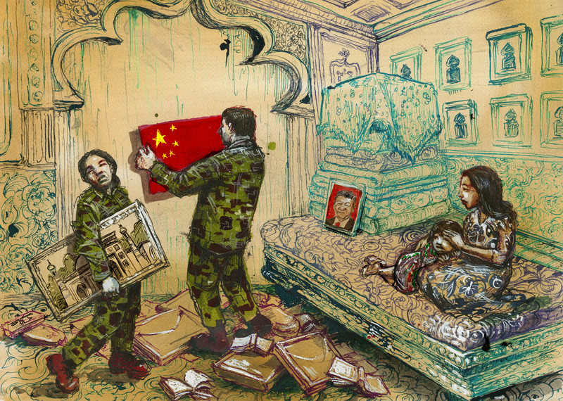 Chinese government officials removing religious and cultural artefacts from a home. © Molly Crabapple
