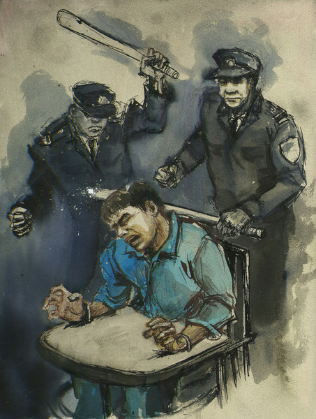A detainee is beaten by internment camp guards while immobilized in a tiger chair. © Molly Crabapple