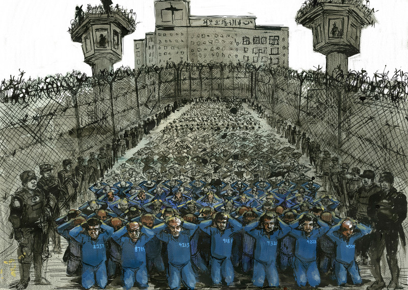 Guards surround a large group of detainees in an internment camp in Xinjiang, China. © Molly Crabapple