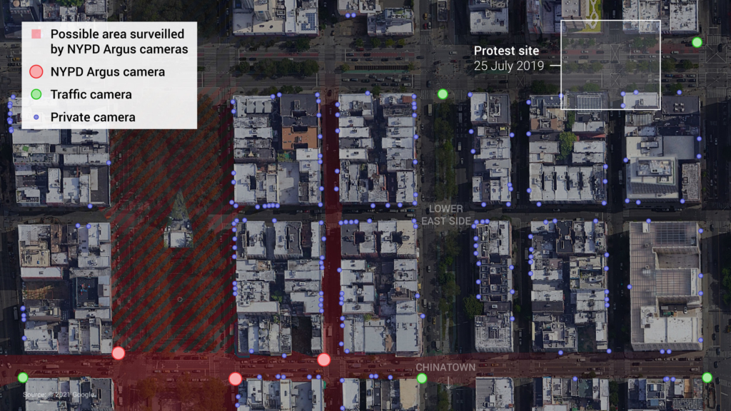 The possible area surveilled by three NYPD Argus cameras in the Lower East Side, close to the site of a Black Lives Matter protest. We also identified four traffic cameras owned by the New York City Department of Transport (DOT), and over 100 private cameras in the area.