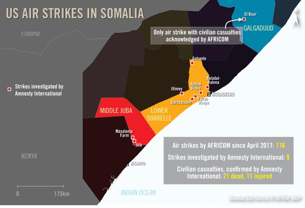 Mapa que muestra los ataques aéreos de EE.UU. en Somalia, donde Amnistía Internacional encontró pruebas de bajas civiles. © Amnesty International. Fuentes de Basemap: HOTOSM, UNDP